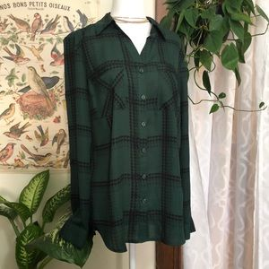 NY Collection Dark Green Plaid Button Down Blouse